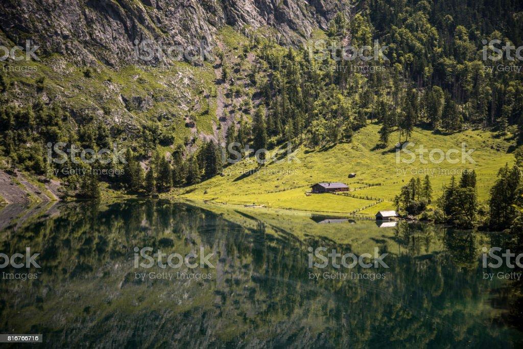 Obersee Lake and Hut near Berchtesgaden stock photo
