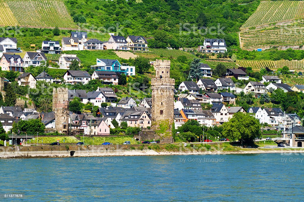 Oberwesel at Rhine in summer stock photo