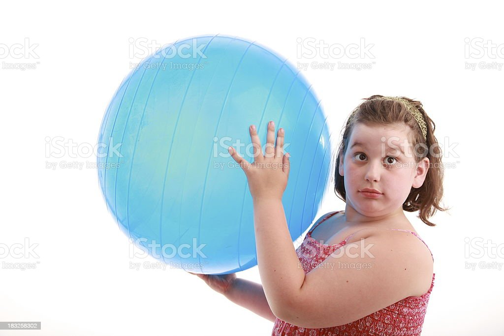obese girl with blue ball royalty-free stock photo