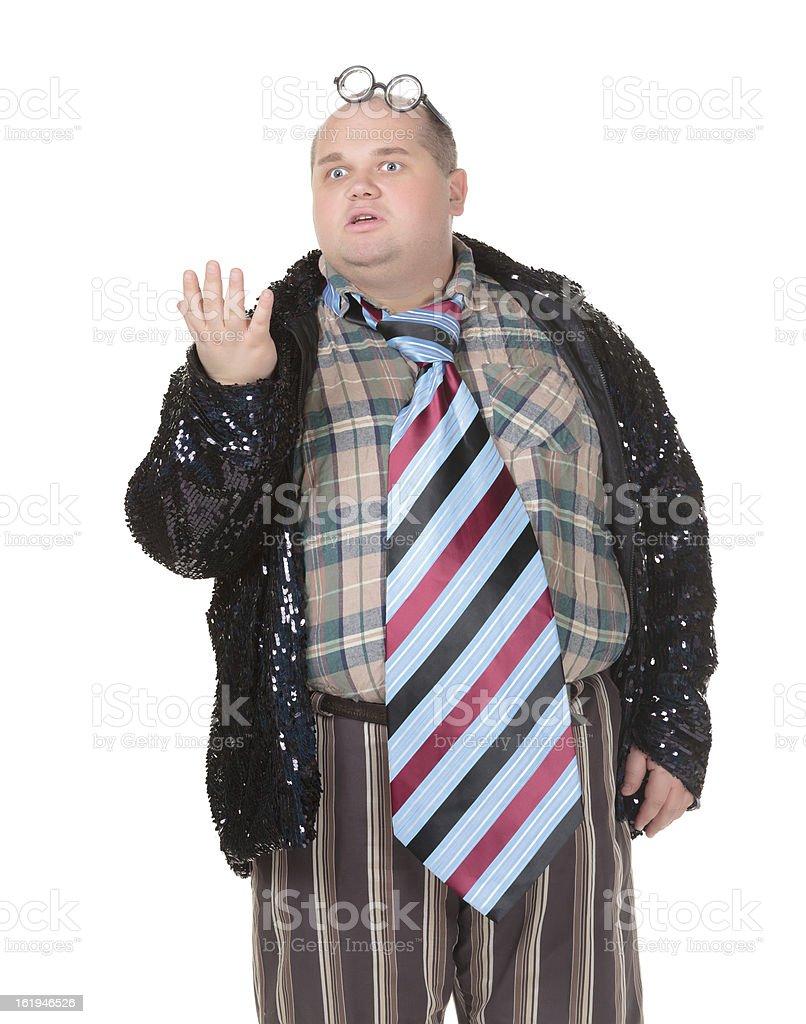 Obese man with an outrageous fashion sense stock photo