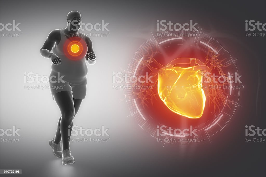 Obesity and sport and heart stock photo