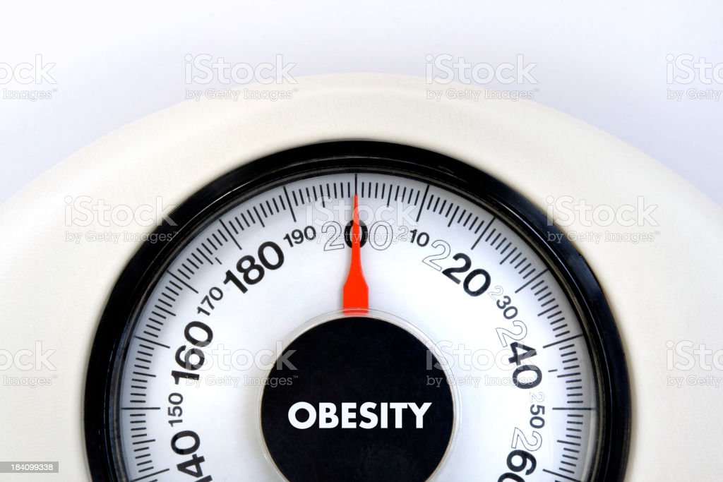 Obesity Overweight Bathroom Weight Scale on White Background royalty-free stock photo