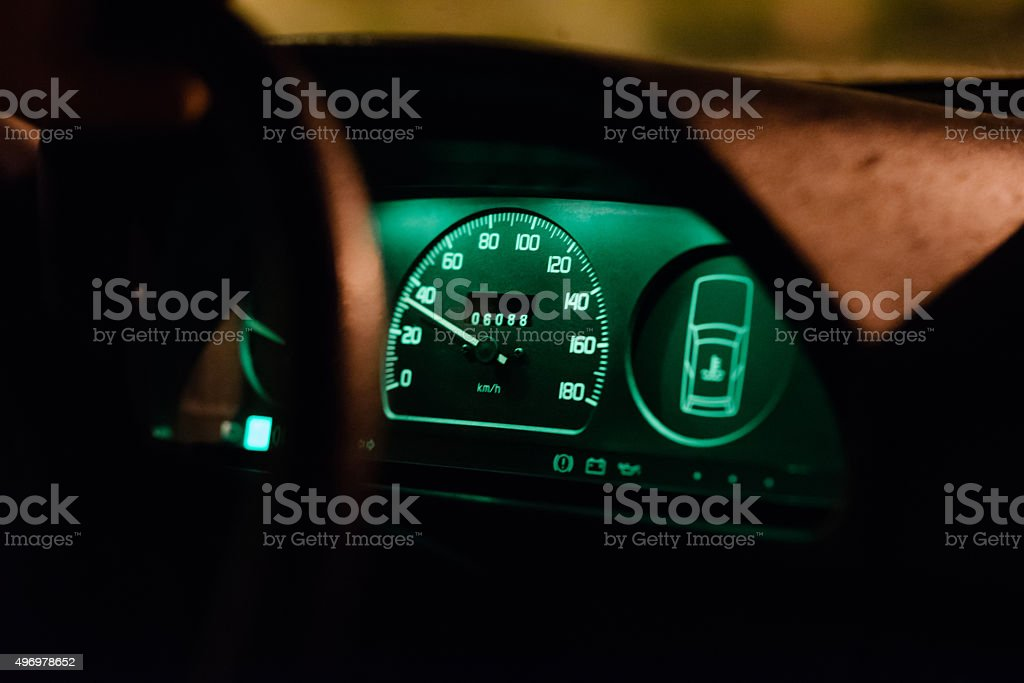 Obeying road speed limits stock photo