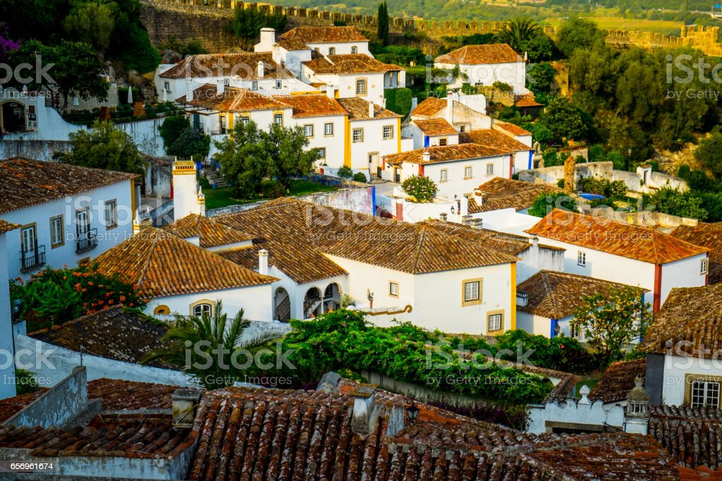 Obidos Medieval Town in Portugal stock photo