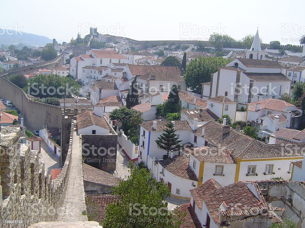 Obidos village wall royalty-free stock photo