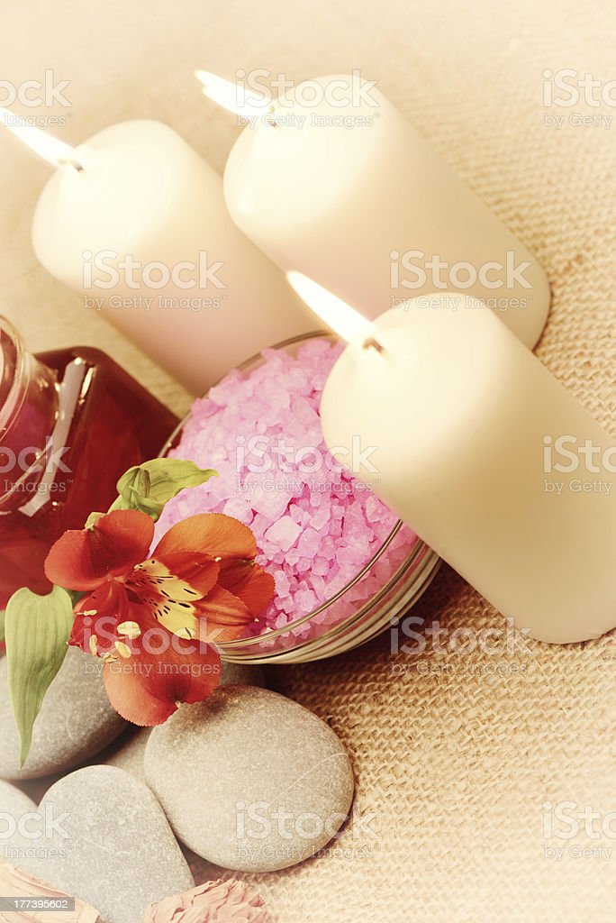 Object for the spa with candle royalty-free stock photo
