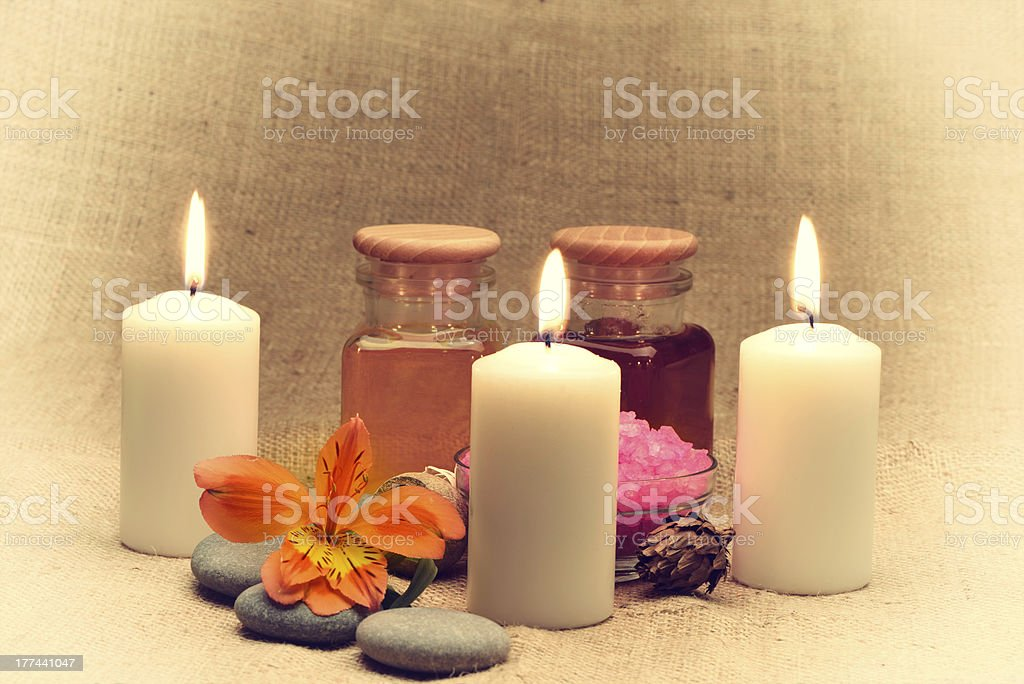 Object for the spa with candle. Retro toned royalty-free stock photo