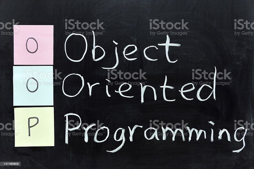OOP, Object Oriented Programming stock photo