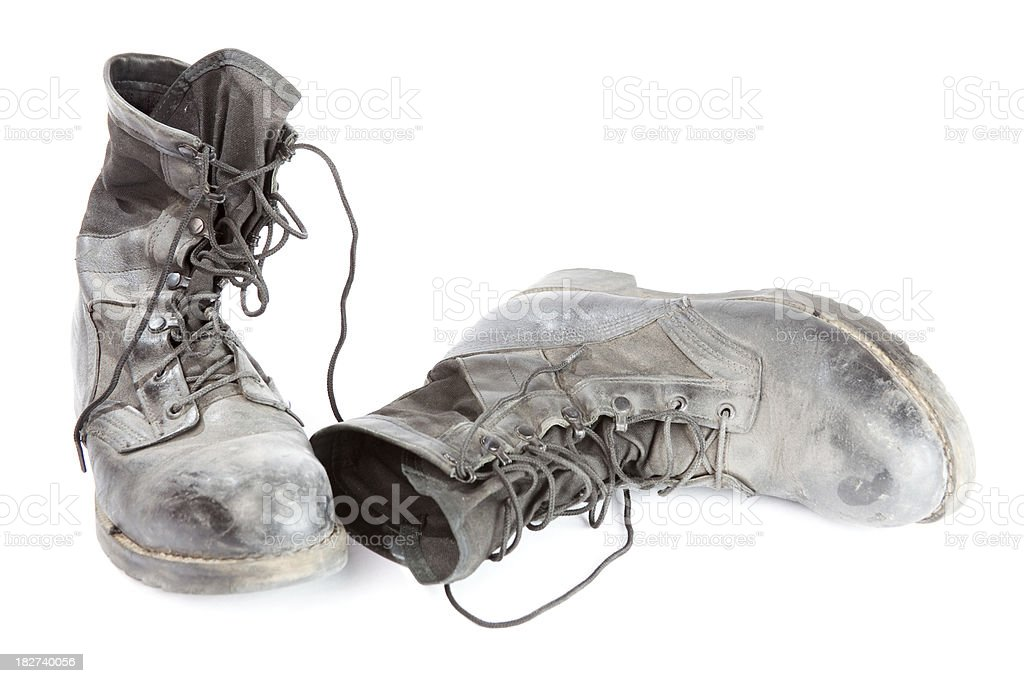 Object White Background Old Black Boots stock photo