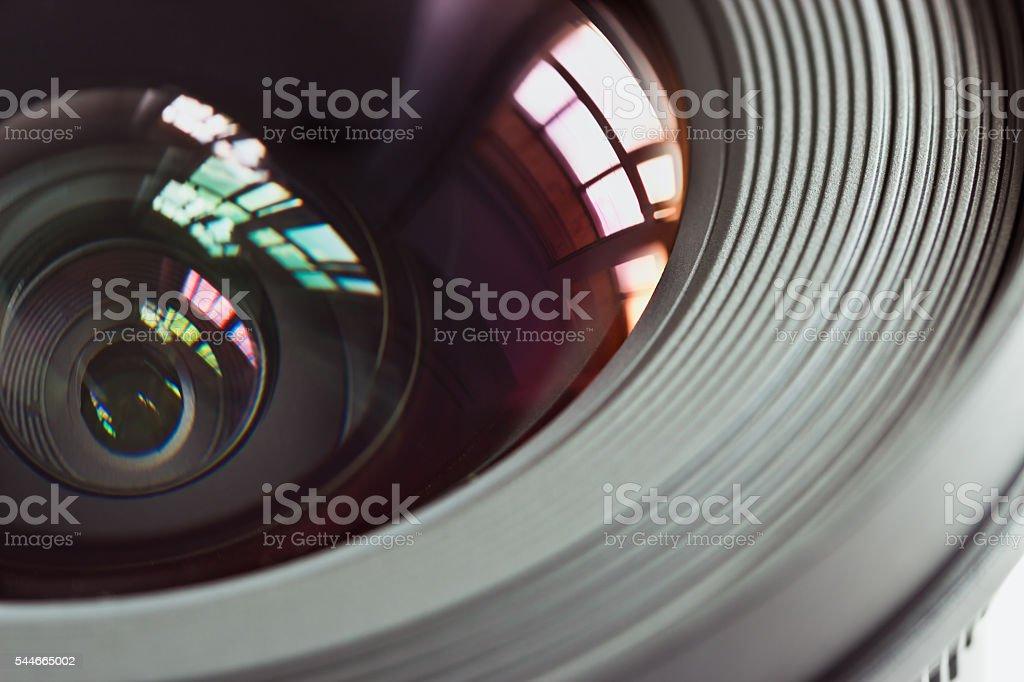 Objective lens closeup stock photo