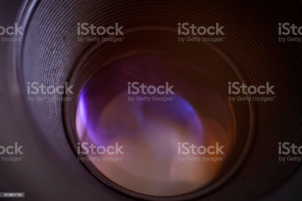 objective with lense reflections stock photo