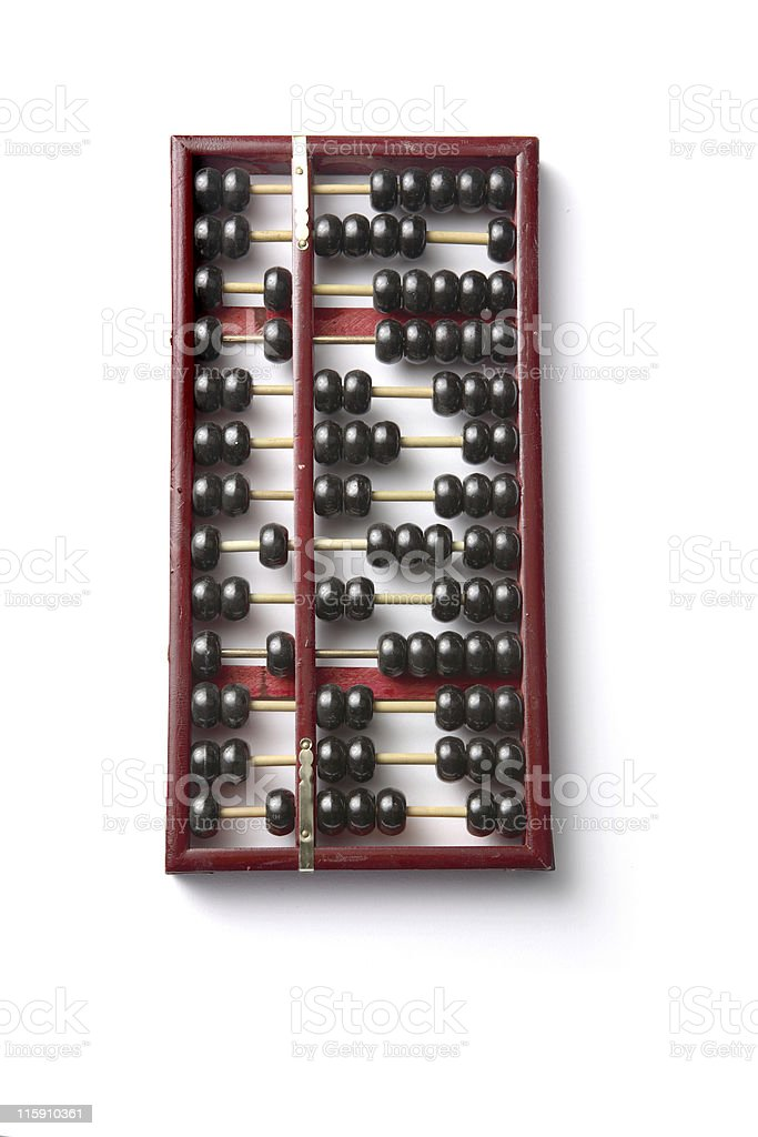 Objects: Abacus Chinese Isolated on White Background stock photo
