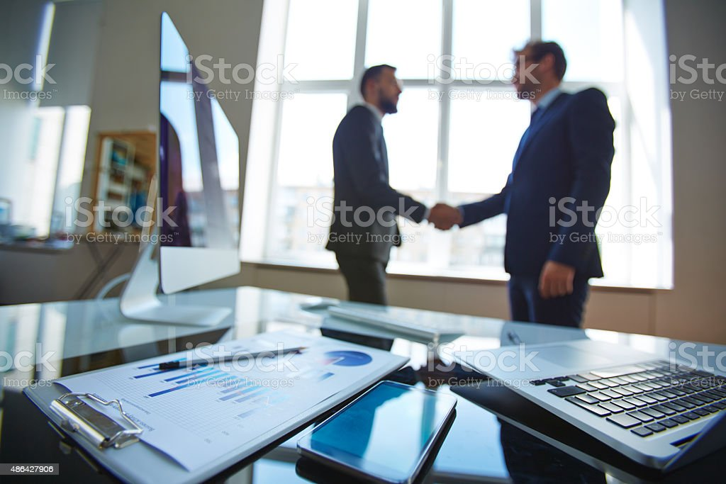 Objects at workplace stock photo