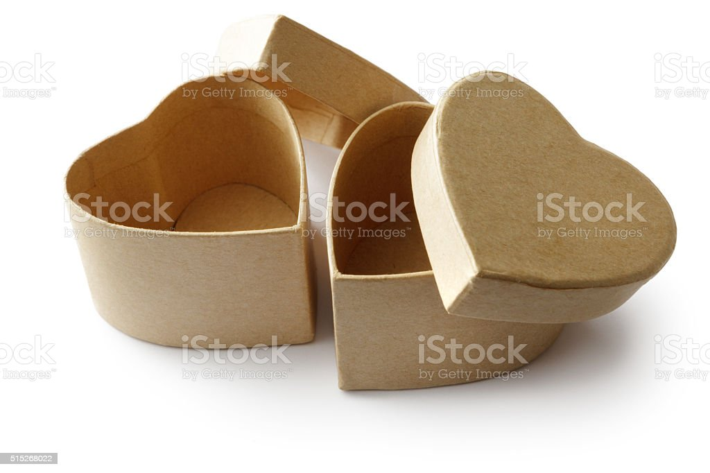 Objects: Boxes Heart Shaped Isolated on White Background stock photo