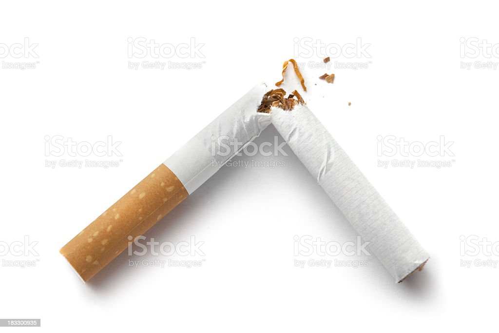 Objects: Cigarette Broken Isolated on White Background royalty-free stock photo