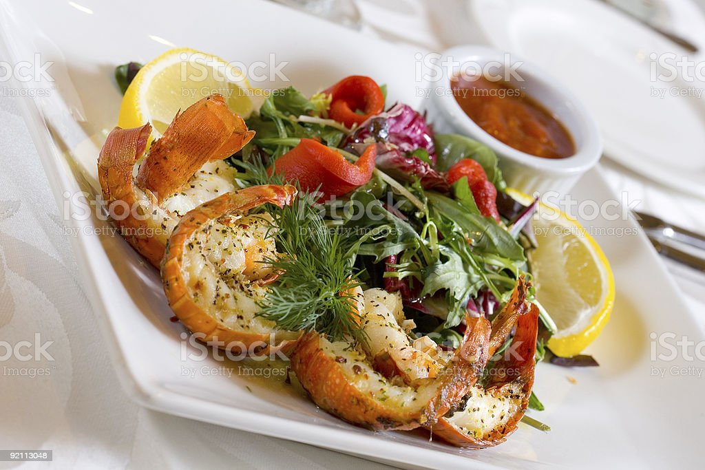 Objects - Grilled Shrimp and Salad royalty-free stock photo