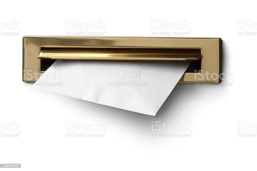Objects: Mailbox with Letter stock photo