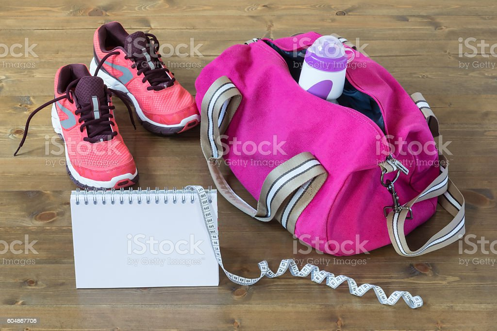 Objects of the bag for sports and record results stock photo