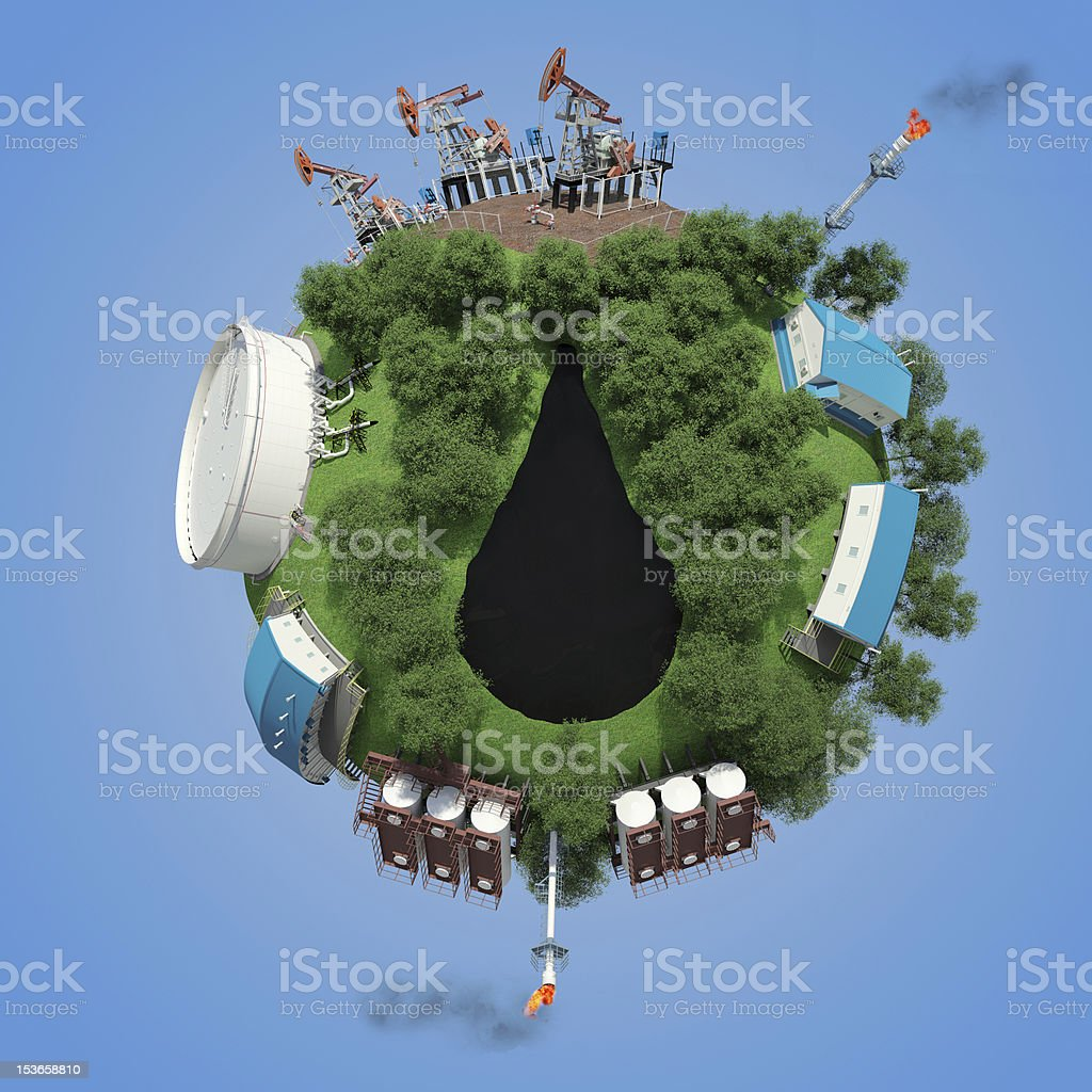Objects oil production and processing on small planet royalty-free stock photo