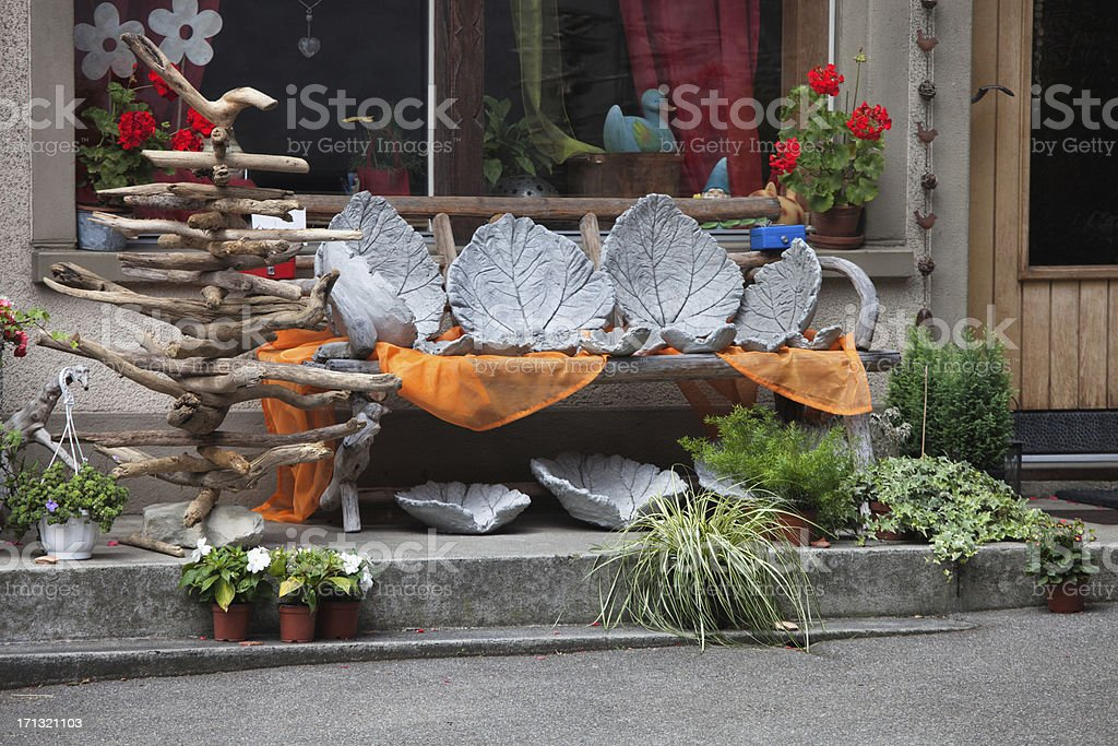 Objects on Display in crafts store, Bernese Oberland royalty-free stock photo