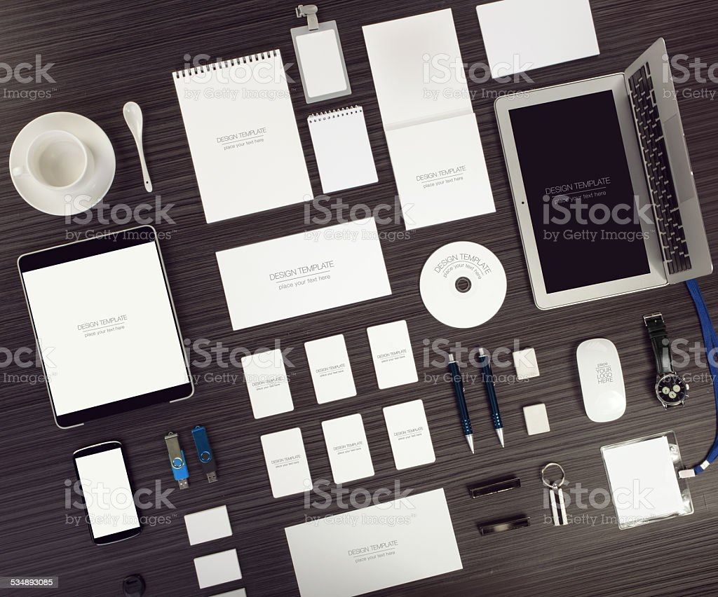 Objects on wood background stock photo