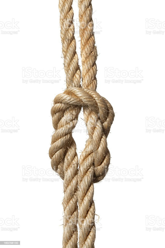 Objects: Rope with Reef Knot royalty-free stock photo