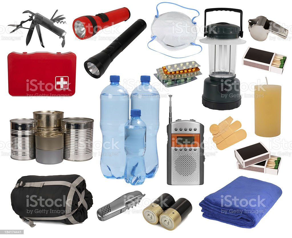 Objects useful in an emergency situation stock photo