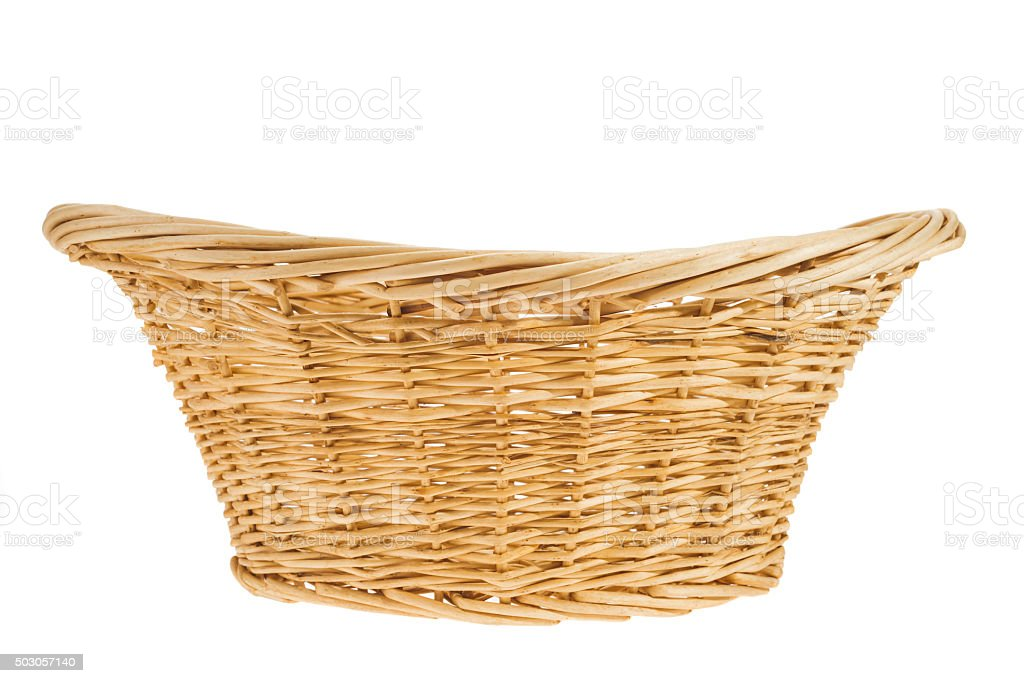 Oblong wicker woven basket on a white background stock photo