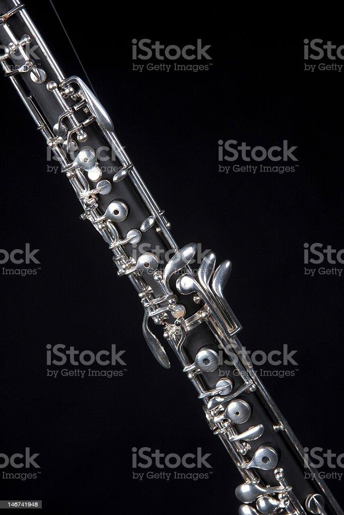 Oboe Isolated On Black stock photo