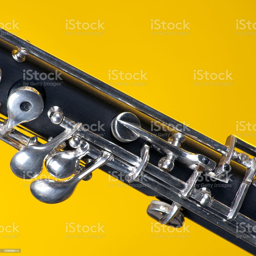 Oboe Up Close Isolated On Yellow royalty-free stock photo