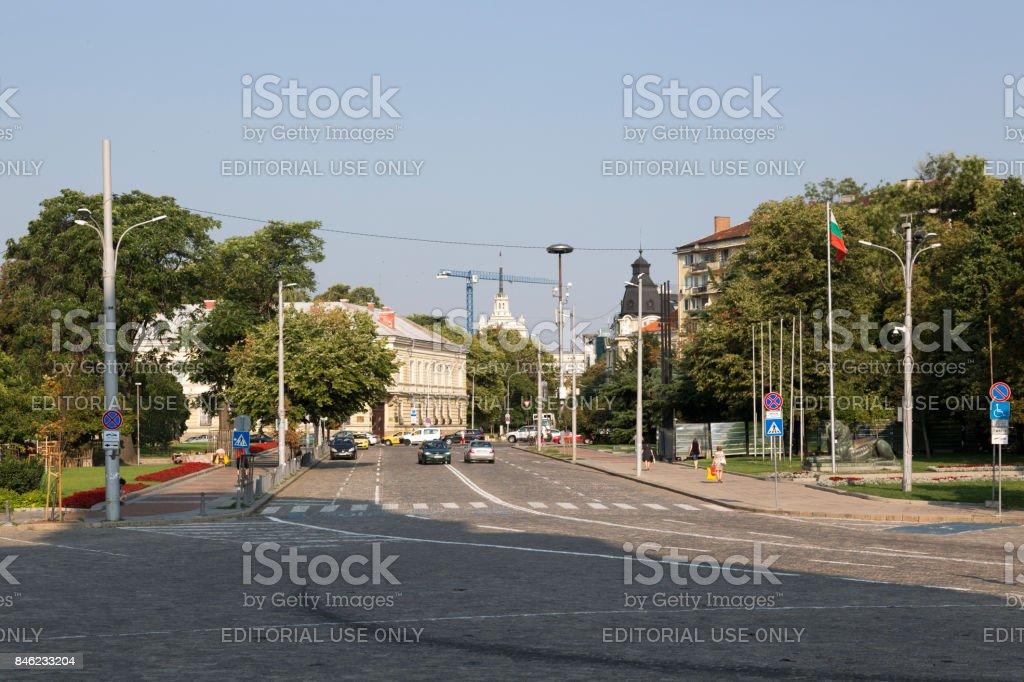 Oborishte Street in the central part of Sofia, Bulgaria. stock photo