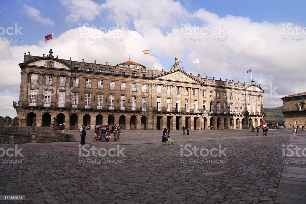 Obradoiro Square & Rajoy Palace - Santiago de Compostela stock photo