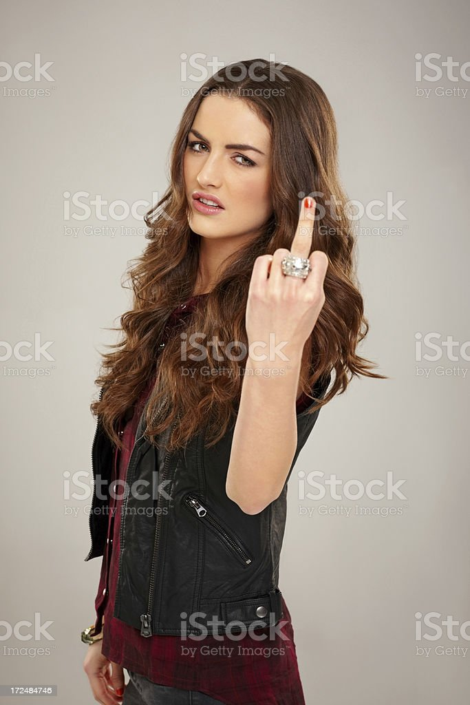 Obscene hand gesture royalty-free stock photo