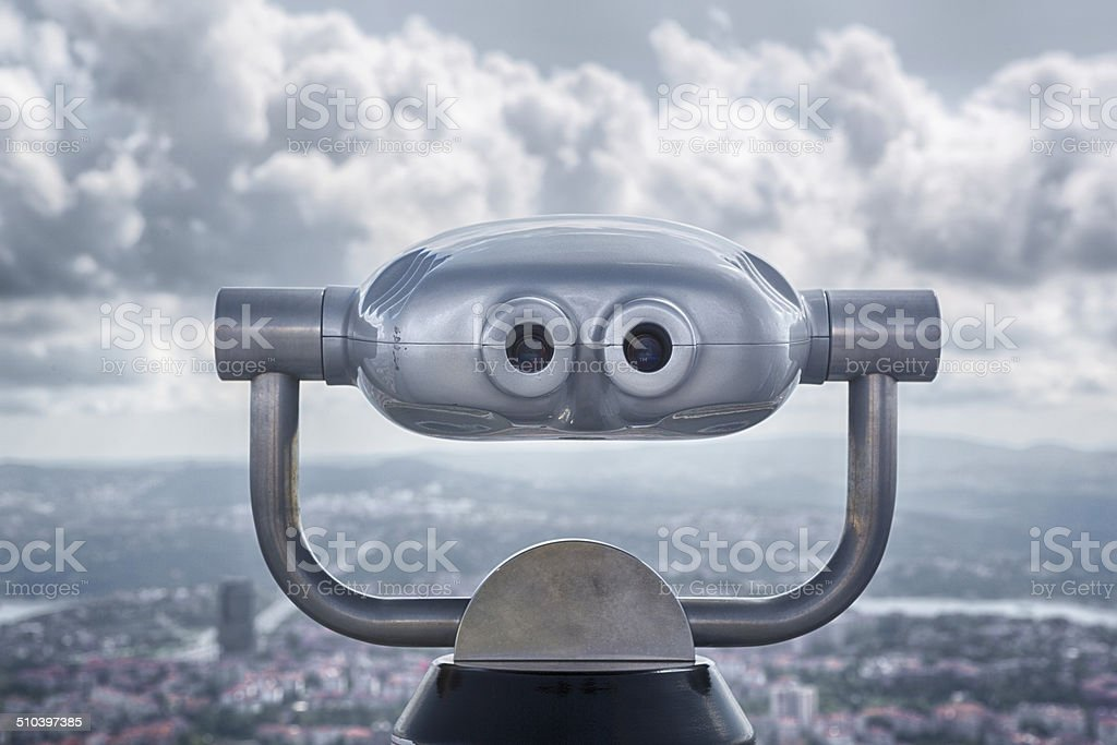 Observation Binoculars, Istanbul, Turkey stock photo