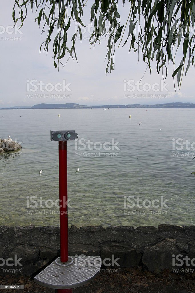 Observation binoculars, Neuchatel Lake stock photo