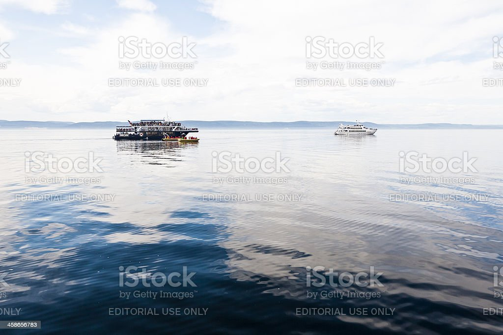 Observation boats stock photo