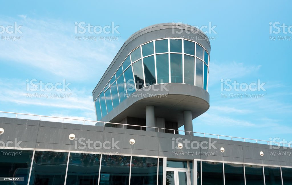 Observation deck in a building with a glass windows stock photo