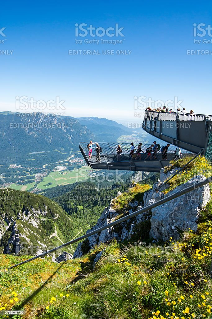 Observation deck in the alps stock photo