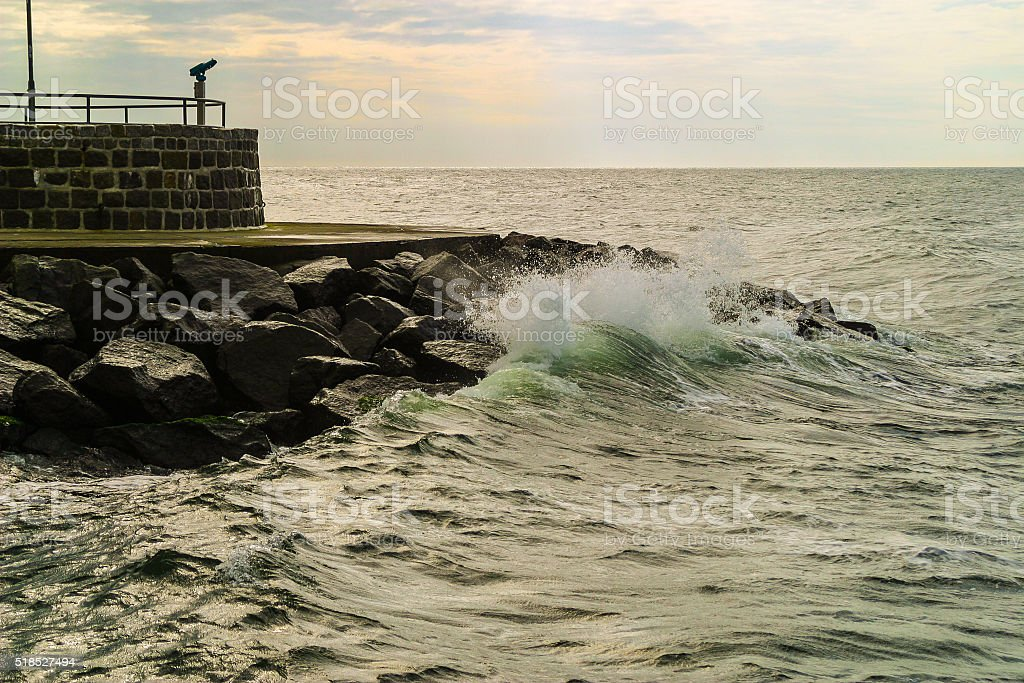 Observation deck overlooking the Baltic Sea stock photo