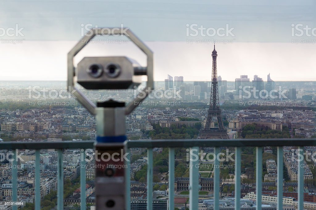 Observation deck overviewing Paris stock photo