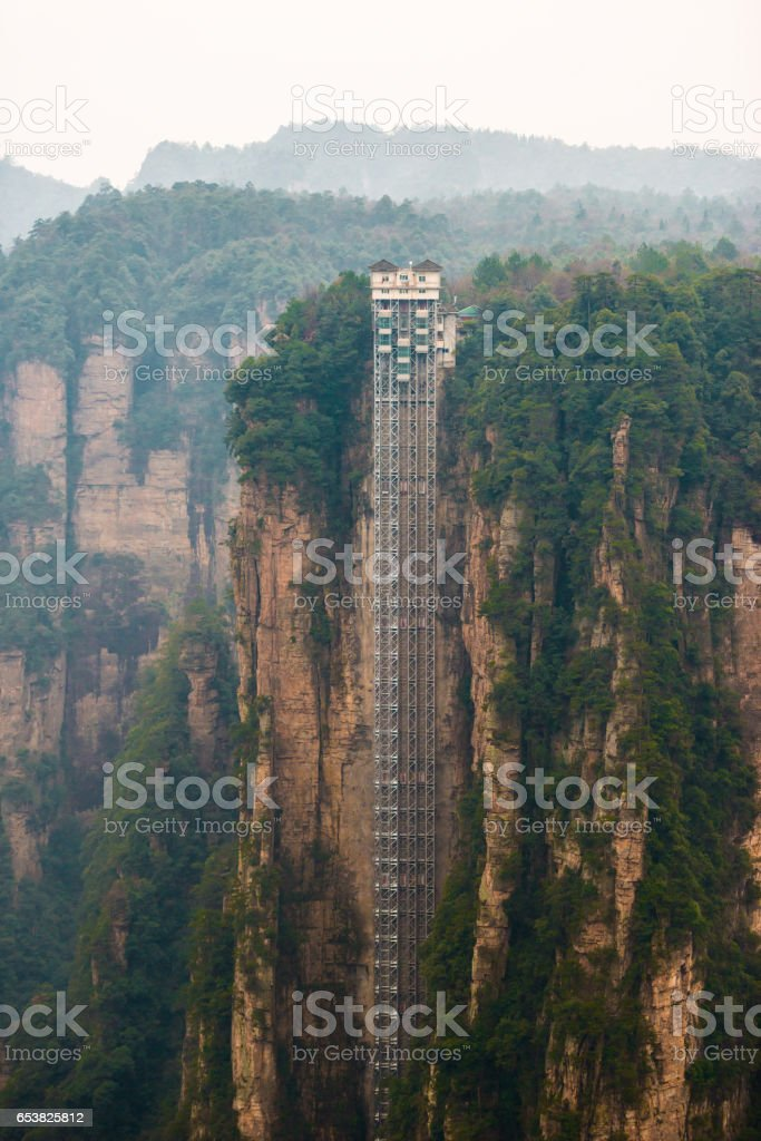 Observation elevator at mountain of Zhangjiajie national park, China stock photo