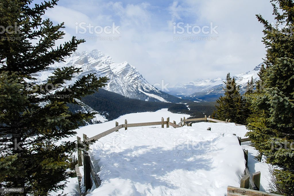 Observation Platform of Peyto Lake in Winter, Canadian Rockies, Canada stock photo
