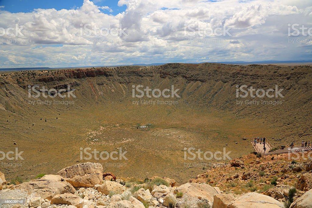 Observation platform over meteor crater stock photo