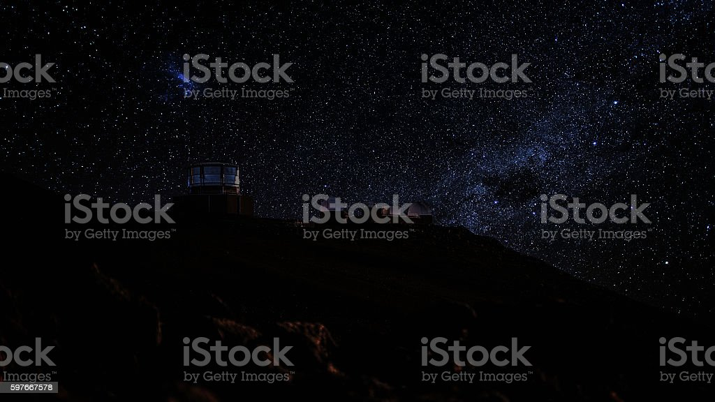 Observatories at the Summit of Haleakala, Maui stock photo