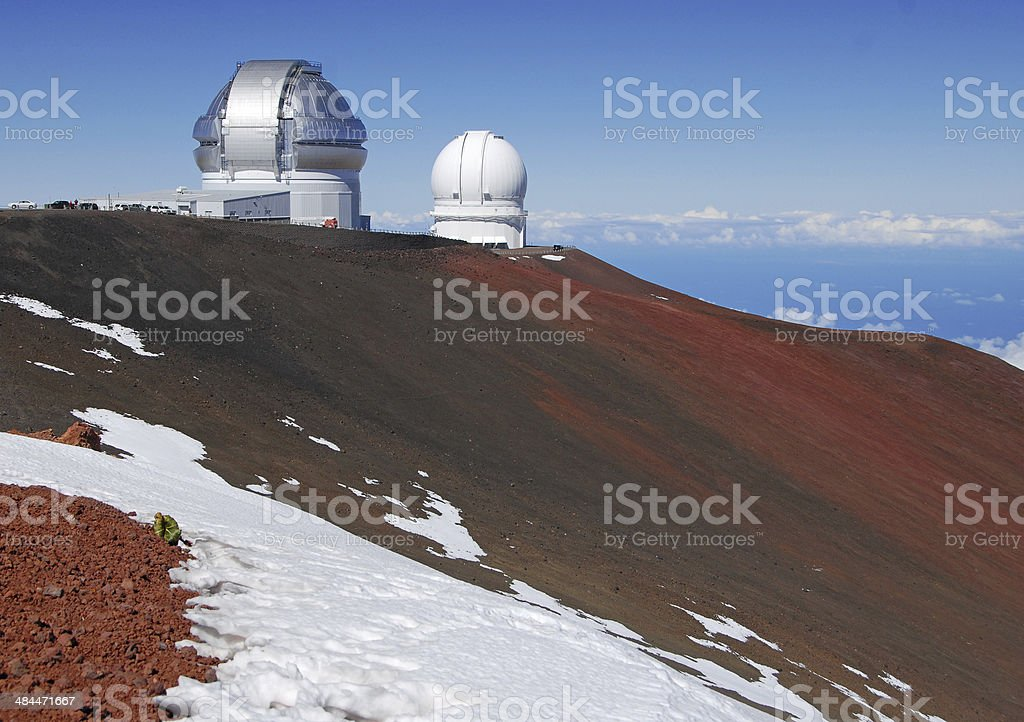 Observatories on Mauna Kea Summit, Big Island of Hawaii, USA stock photo