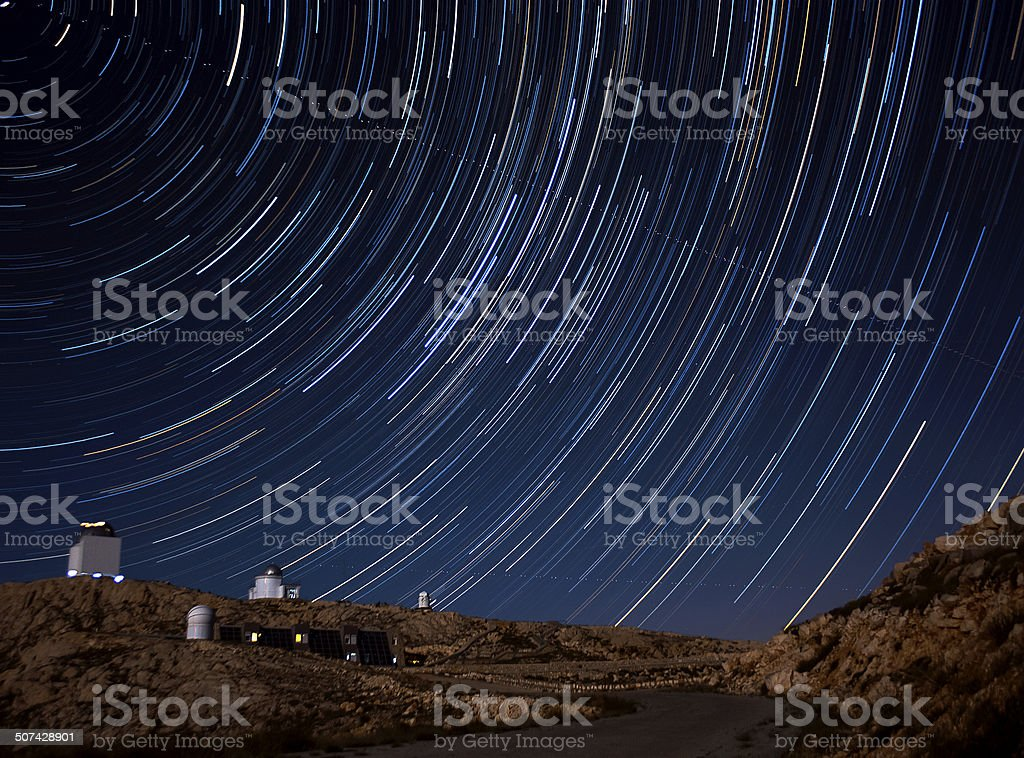 Observatory and the star trails royalty-free stock photo