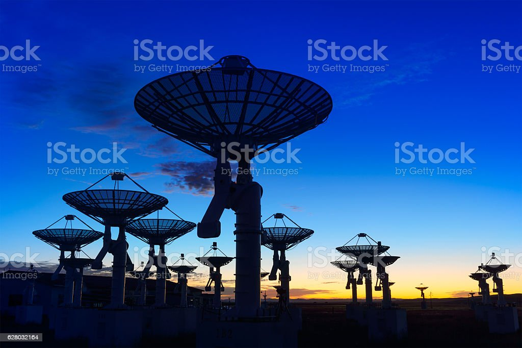 Observatory antenna in the sunset stock photo