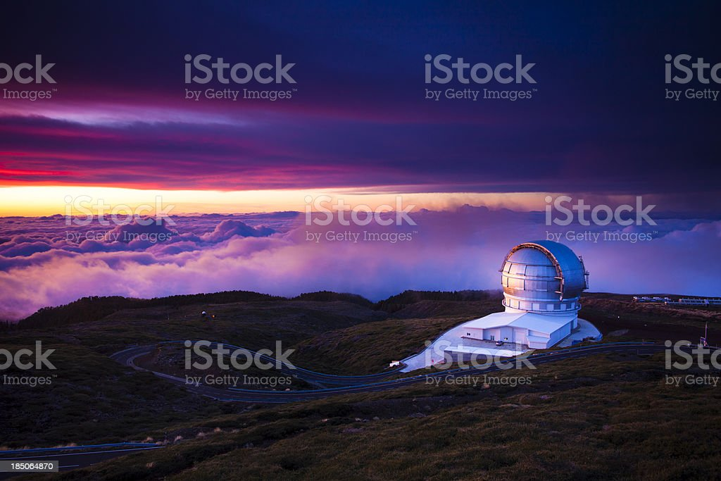 Observatory at sunset stock photo
