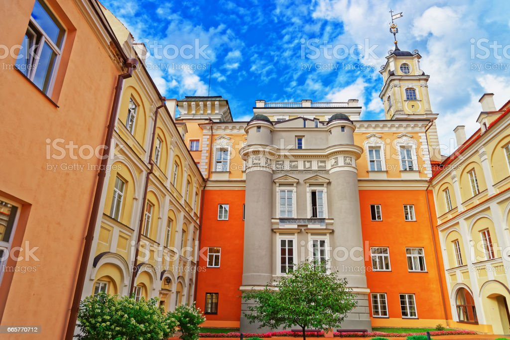 Observatory courtyard and its tower at Vilnius University stock photo