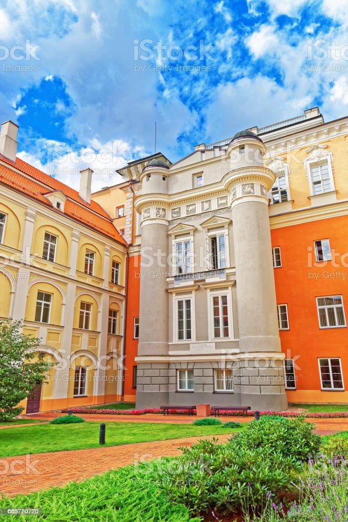 Observatory courtyard of Vilnius University stock photo